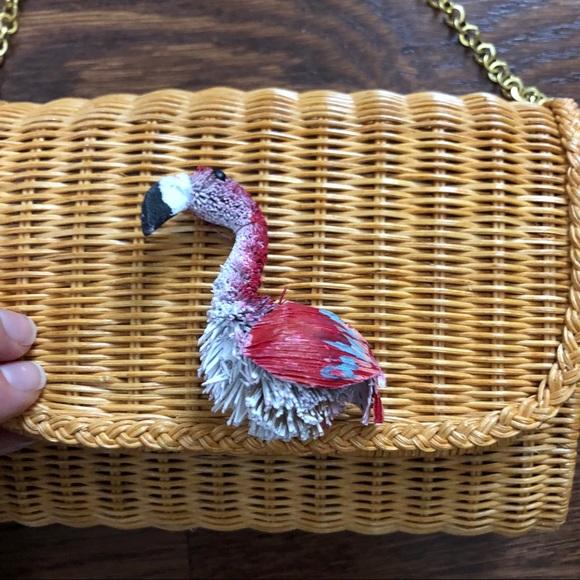 f08bc4e24 Serpui Marie Cecilia Wicker Flamingo Clutch Bag. M_5b60cbf681bbc89c0a9ace2f